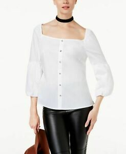 INC Womens White Square Neck 34 Sleeve Casual Top XL