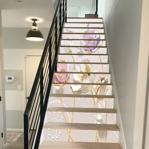3D Gold Foil Flower Self adhesive Stairs Sticker Home Decor Steps Decal Paster
