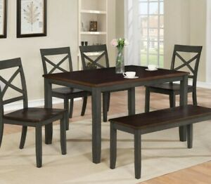 Simple Two-Tone Finish Durable Solid Wood 6 Pc Dining Table Set Bench Chair Home