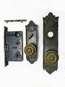 1880's Bronze Corbin Massive Entry Mortise Lock Untouched Plates Knobs Lock