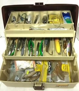 Vintage Plano Fishing Lure Tackle Box Full with Lures & More