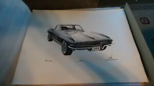 Vintage Lithograph Print and Numbered of 1966 Corvette Leonard Kik #x27;75 22 1 2quot; $110.99
