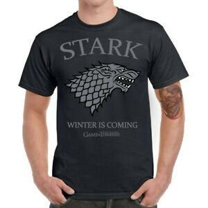 Men T-Shirt Funny Stark House Winter Is Coming Game of Thrones Tee Short Sleeve