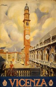 Vicenza vintage travel poster repro 24x36 $9.95