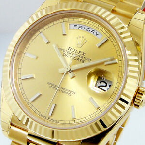 ROLEX DAY-DATE 228238 PRESIDENTIAL 40 mm YELLOW GOLD CHAMPAGNE INDEX STICK DIAL