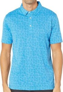 Linksoul Mens Floral Polo Golf Shirt - Lagoon Size Large