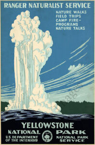 Yellowstone National Park vintage travel poster repro 24x36 $9.95