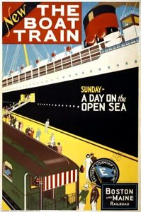 The Boat Train vintage travel poster repro 24x36 $9.95