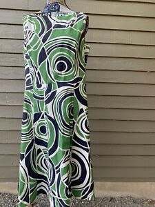 Merona Collection Optical Dress Green Blue Sleeveless Midi Fit and Flare Sz 16