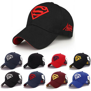 Mens Boys Superman Embroidery Baseball Cap Sports Summer Soft Gym Adjustable Hat