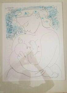 GRAND MATERNITY MOTHER BREAST FEEDING CHILD ORIGINAL LITHOGRAPH BY PICASSO