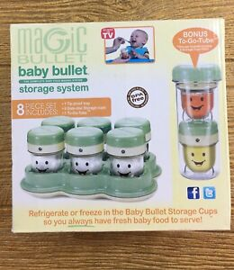 Magic Bullet BABY BULLET Storage System 8 Pieces Tray Cups + Bonus To Go Tube
