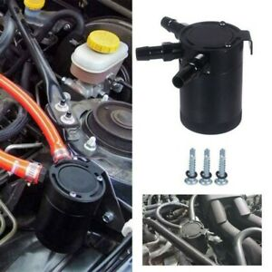 Universal 3 Port Oil Catch Can Tank Compact Auto Baffled Air-Oil Separator Black