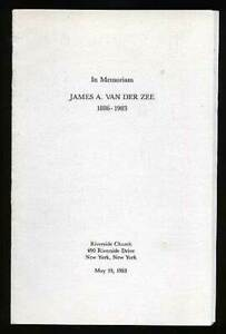 James VAN DER ZEE, Van Derzee In Memoriam James A Van Der Zee 1886 1983