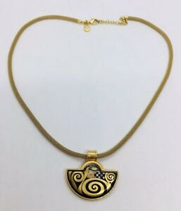 Frey Wille Vintage Austrian Yellow Gold Plated Enamel Necklace