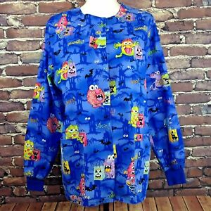 Halloween Scrub Jacket SM Snap Front Blue Monsters Trick or Treat Bats Shadows