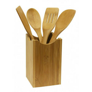 Home Basics Cooking Utensil Set Bamboo Kitchen Tool Kit Home Tools 5-Piece NEW
