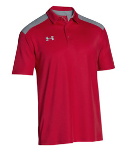 Under Armour Men's NWT Team Color-Block Polo Red XL Loose Fit Golf T-Shirt