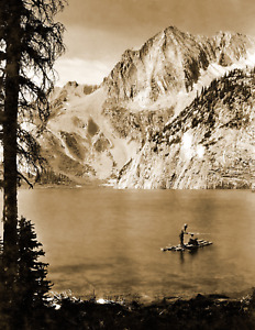 1919 Men Fishing on a Raft Colorado Old Photo 8.5quot; x 11quot; Reprint