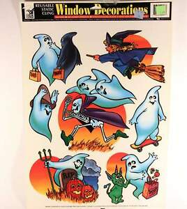 One (1) Vintage Color Clings 12 In. X 17 In. Sheet Halloween. Made In U.S.A.