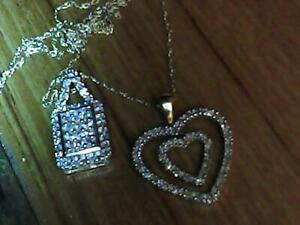 TWO ANTIQUE VINTAGE 10KW/YG 3.2G 60 CTW DIAMOND SQUARE&.DOUBLE HEART,  PENDANTS