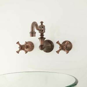 Vintage Wall Mount Bathroom Faucet with Cross Handles Overflow Oil Rubbed Bronze