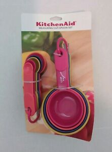 Genuine Kitchen Aid Multi Color 4 Cup amp; 5 Spoon Measuring Set KC475OHA4A NEW