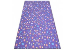 Fitted Carpet for kids numbers purple Width 100-400 cm numbers, alphabet, digits