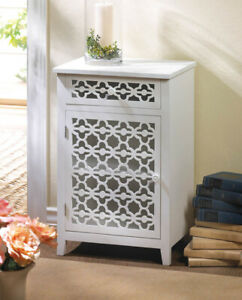 Die-Cut White Wood Cabinet with Pullout Drawer