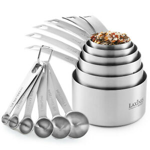 Stainless Steel Measuring Cups & Spoons 12-Piece Set, 6 Cups &  6 spoons