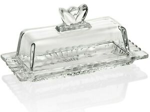 Premium Glass Butter Dish with Flower Lid and Easy Grip Handle Dishwasher Safe $16.99
