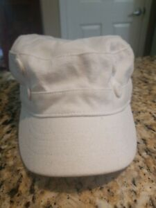 TROPICAL TRENDS WHITE COTTON WOMEN'S MILITARY CADET STYLE HAT ONE SIZE