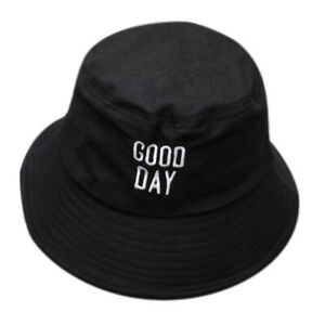 Good Day Letters Bucket Hats Men Women Embroidery Hat Beach Outdoor Hunting Cap