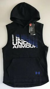New Under Armour Boys Rival Sleeveless Hoodie 1322202 001 Black Royal Youth M L