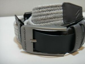 Under Armour Mens Golf Elastic Braided Belt Classic Buckle Size 36 Color Gray $35.05