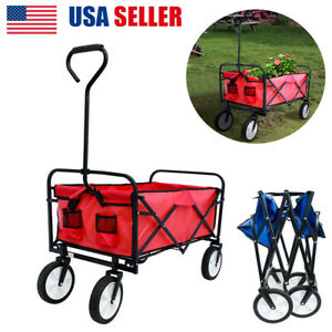 US Portable Folding Wagon Cart Collapsible Garden Utility Cart For Beach Camping