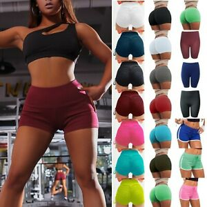 Women High Waist Yoga Shorts Running Fitness Bottoms Stretch Pants Trousers Gym