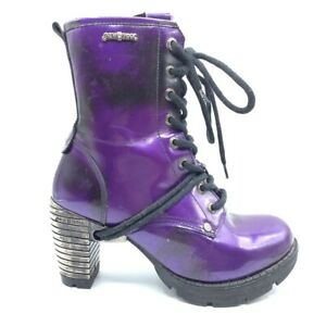 NEW ROCK Purple Lace-up Combat Boots SILVER Metal Heel Punk Goth Y2K Shoes 37 7