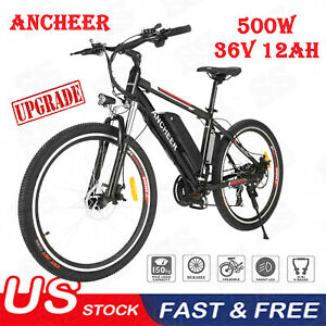 500W 26in Electric Mountain City Bicycle 21 Speed Cycling E-Bike w 12Ah Battery