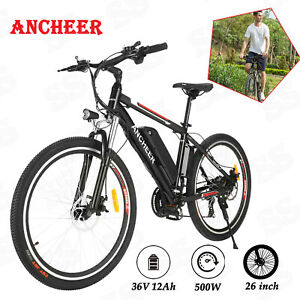 ANCHEER 500W 26in Electric Mountain City Bicycle 21 Speed Shifter Cycling E-Bike