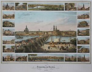Dresden - Memory of Dresden - Very Seltenes Souvenir Sheet from Arldt - 1840
