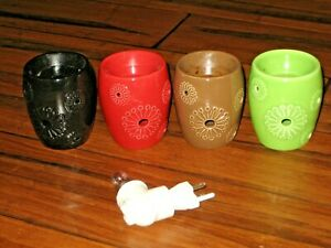 4 pc lot Scentsy Dandy Plug In Wall Warmers Retired: Brown, Lime, Red, Black