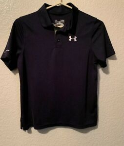 Under Armour Boys Youth Polo Shirt Loose Fit Heat Gear Navy Blue Size YLG Large
