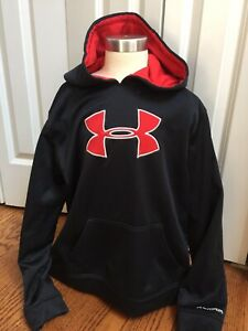 UNDER ARMOUR Boys Youth Large Hoodie Black Red Loose Fit EUC