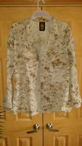 USMC Marine US  IRAQ AFGHANISTAN DESERT MARPAT CAMO COMBAT SHIRT medium LONG