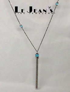 Rebecca Necklace Aqua Stone with 18 Karat White Gold Plating 34 inches
