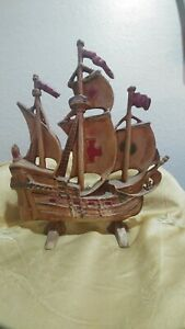VINTAGE ANTIQUE DOOR STOP CAST IRON GALLEON, SAILING, PIRATE SHIP HUBLEY STYLE