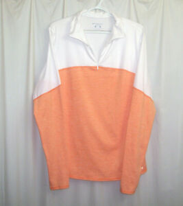 Brooks 14 Zip Running Shirt Top Women's XL Orange White Long Sleeve Thumb Holes