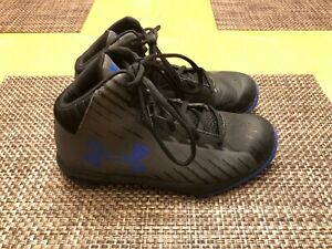KidsYouth Under Armour BlackBlue High Top Basketball Shoes Size 2.5Y