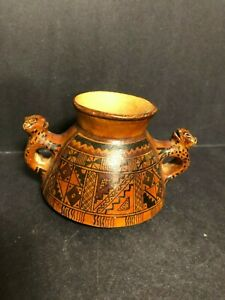 OLD PISAC PERUVIAN TERRACOTTA CLAY PRE COLOMBIAN STYLE DOUBLE JAGUAR HANDLED JUG